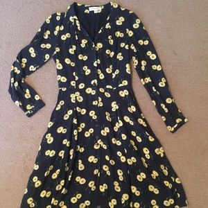 Emily And Fin XS/8 Black Floral Daisy Print Dress